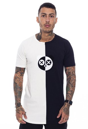 Camiseta Long Superstar Chenille Off White com Preto