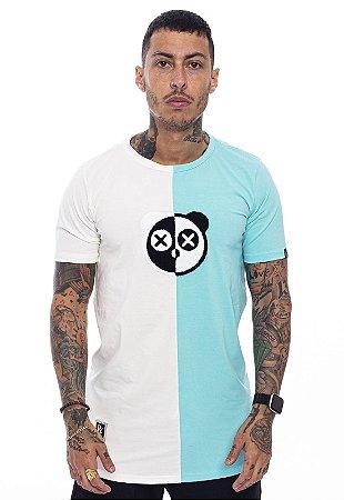 Camiseta Long Superstar Urso Chenille Off White com Verde Água