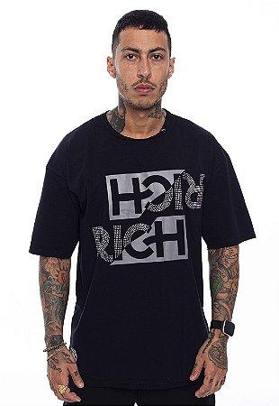 Camiseta Oversized Superstar Double Rich Pedraria Preta