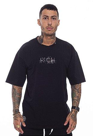Camiseta Oversized Superstar Pedraria Preta