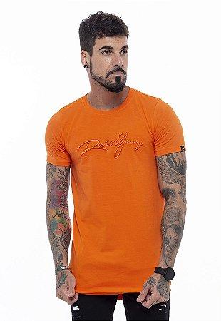 Camiseta Long Classic Bordada Laranja