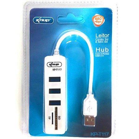 Hub USB 2.0 3 Portas Com Leitor SD e Micro SD Knup