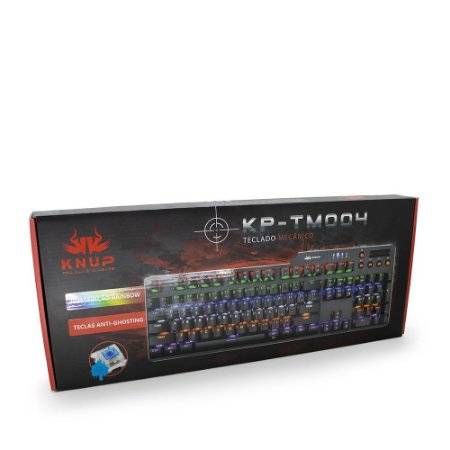 Teclado Gamer Mecânico LED RAINBOW KNUP KP-TM004