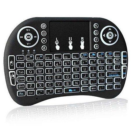 Mini Teclado E Mouse Touch Sem Fio Tv Box Wireless Com Luz Noturna