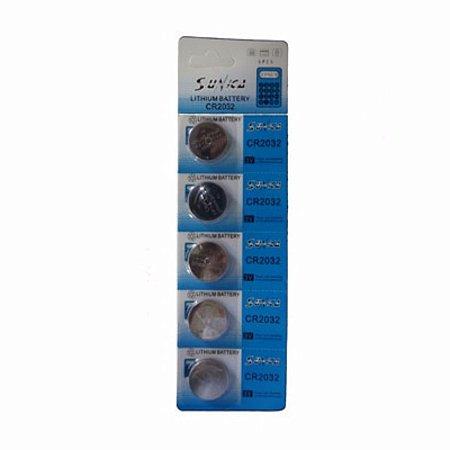 Bateria Suncon 3V CR2032 Cartela Com 5 Unidades