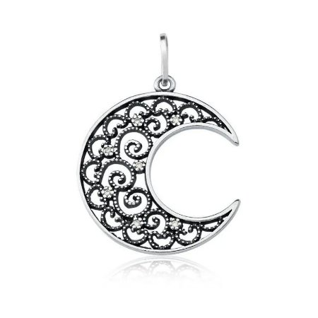 Pingente Lua Vazada Cravejada de Zircônias - Prata 925