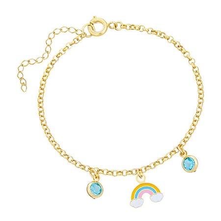 Pulseira Infantil Arco-íris e Cristal Azul - Banho Ouro