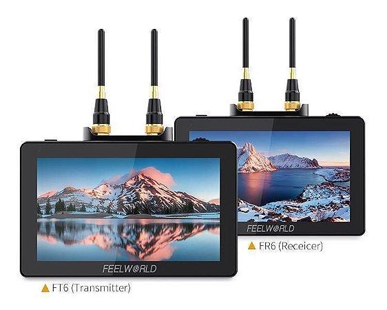 """FeelWorld 2x Monitor 5.5"""" c/ Transmissor e Receptor sem fio FR6 FT6"""