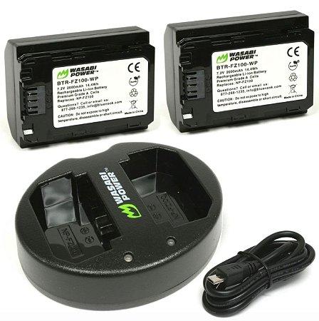 Kit 2x Bateria Wasabi NP-FZ100 + Carregador Duplo Para Câmera Sony Alpha
