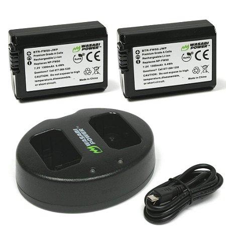Kit 2 Baterias Wasabi NP-FW50 + Carregador Duplo Para Câmeras Sony Alpha