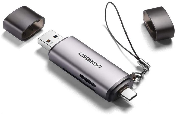 Ugreen Leitor portátil USB-C +USB 3.1 P/ TF/SD 3.0 MicroSDOTG CM184