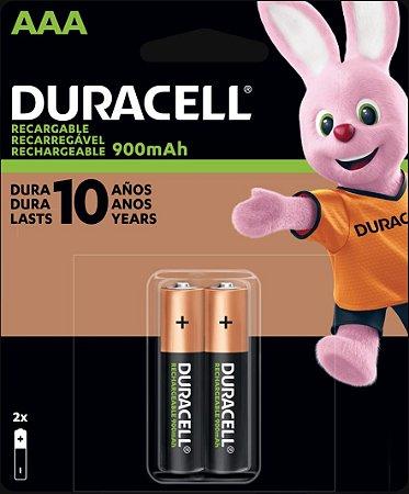 Pilha recarregável Duracell AAA 900mAh (Com 2)