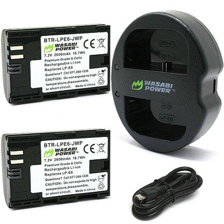 Kit Carregador Duplo E6 + 2 baterias Canon LP-E6N - Wasabi Power