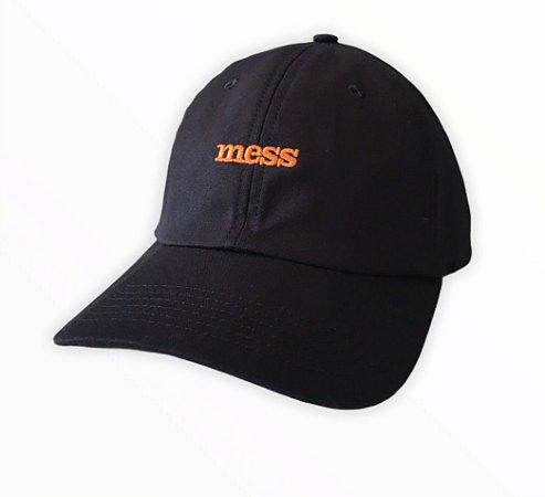Bone Mess Cool Logo Orange Dad Hat Preto