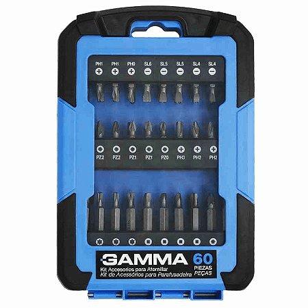Kit de Acessórios para Parafusadeira com 60 Peças - GAMMA-G19526AC