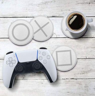 Jogo de Porta Copos Botões de Controle PS5 new 2021 - 4 peças - Jogo de Porta Copos Gamer