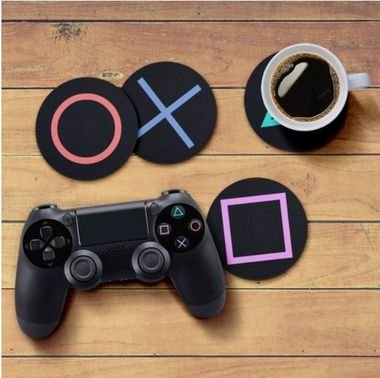 Jogo de Porta Copos Botões de Controle PS4 - 4 peças - Jogo de Porta Copos Gamer