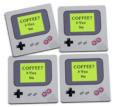 Jogo de Porta Copos Gamer Boy Coffee Yes - 4 peças - Jogo de Porta Copos Gamer
