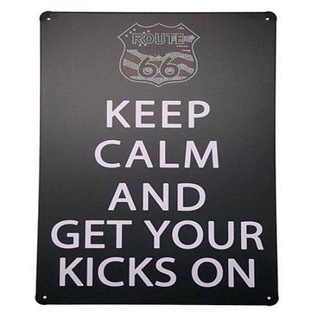 Placa De Metal Decorativa Keep Calm Kicks On