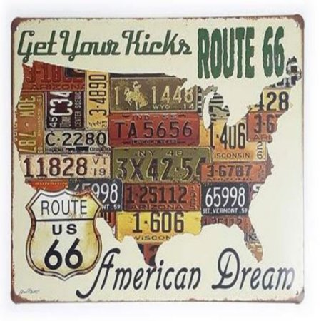 Placa De Metal Route 66 Get Your Kicks - 30 X 20 Cm