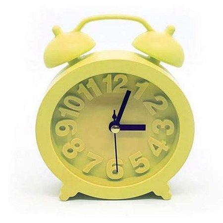 Relógio De Mesa Retrô Moderno Redondo - Amarelo