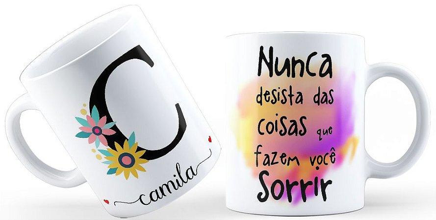 Caneca Floral Alfabeto Letra C