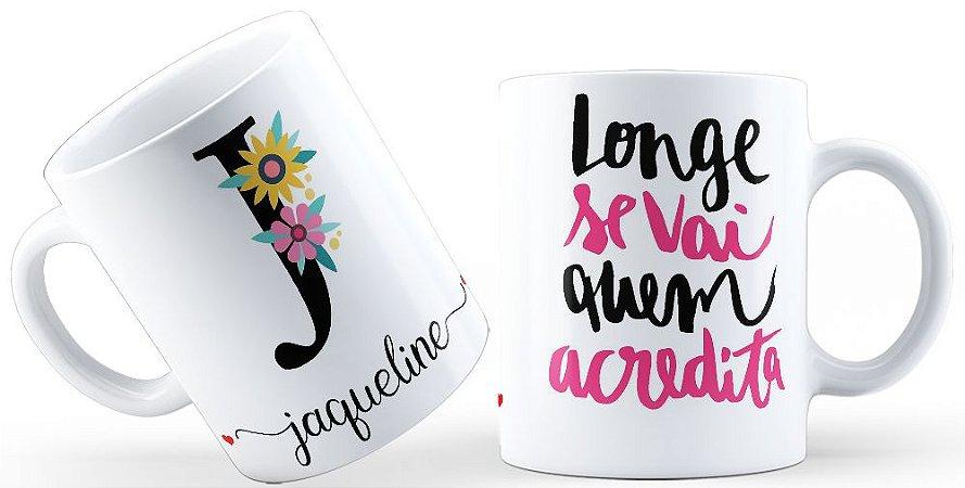 Caneca Floral Alfabeto Letra J