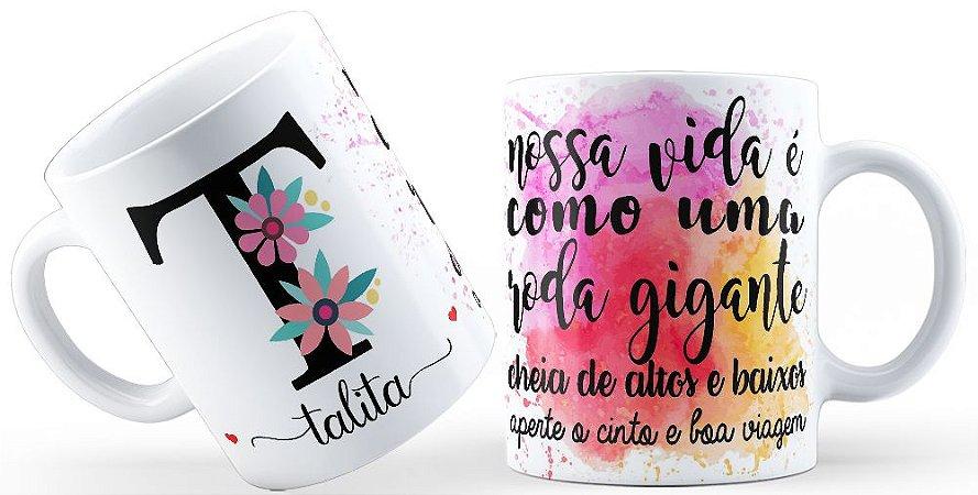 Caneca Floral Alfabeto Letra T
