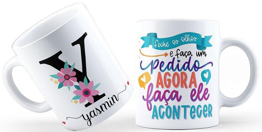 Caneca Floral Alfabeto Letra Y