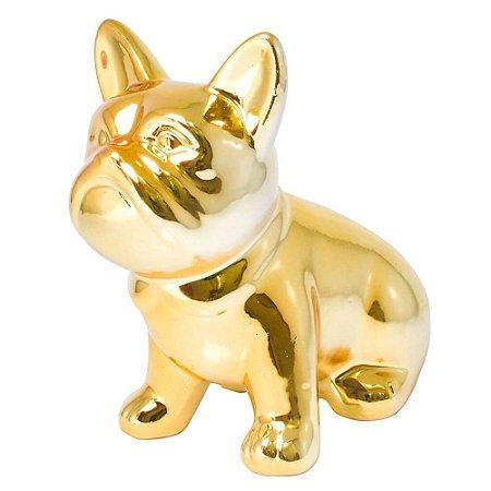 Enfeite de porcelana Bulldog  - cor dourado