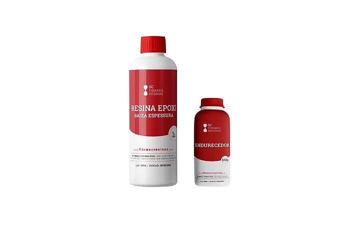 Kit Resina Epoxi Baixa Espessura 1kg Resina + 430g Endurecedor