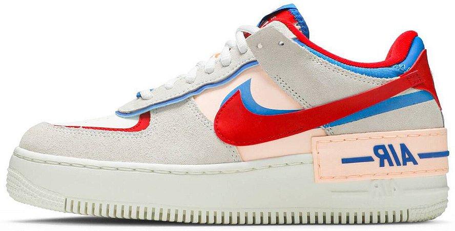 """Nike Air Force 1 Shadow """"Sail Royal Red"""" Feminino"""