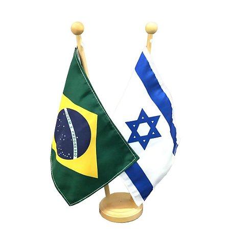 Bandeira de mesa 2 varões e base em madeira Brasil e Israel - Oficial