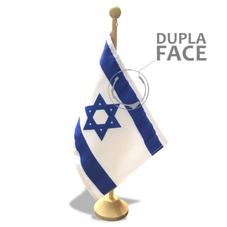 Bandeira de Mesa de Israel com base em Madeira