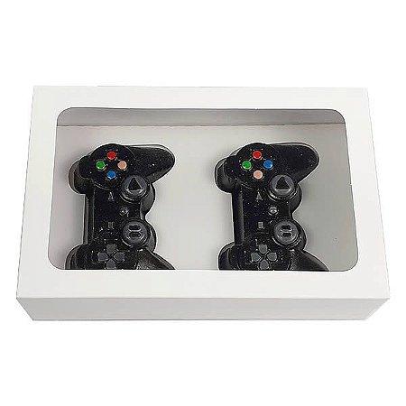 Caixa Branca 2 Controle Joysticks Mini PlayStation (20x13x5 cm) 10unid
