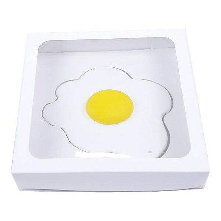 Caixa Visor Ovo Frito Estralado Branca (13x13x2.5 cm) 10unid