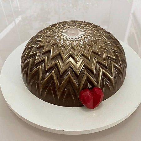 Forma para Chocolate Semiprofissional com Silicone Bolo Textura Chevron Ref. 3654 BWB 1unid