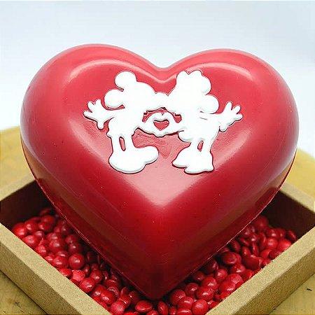 Forma para Chocolate com Silicone Coração Mickey e Minnie Apaixonados 500g Ref. 12027 BWB Licenciada Disney 1unid