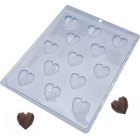 Forma para Chocolate Bombom Coração Lapidado 6g Ref. 9835 BWB 10unid