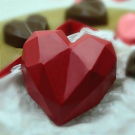 Forma para Chocolate com Silicone Coração Lapidado 200g Ref. 9837 BWB 1unid