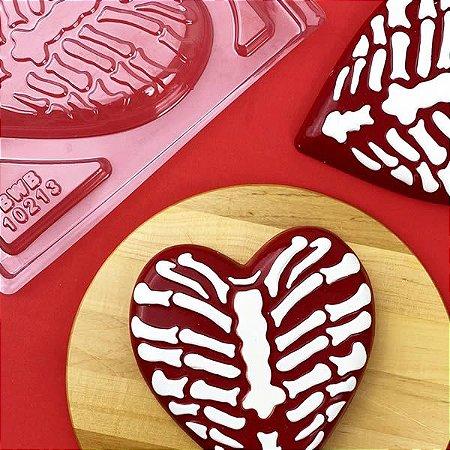 Forma para Chocolate com Silicone Coração Caveira Esqueleto 300g Ref. 10213 BWB 1unid