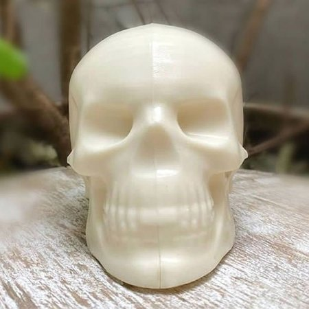Forma para Chocolate com Silicone Crânio Médio Cabeça Caveira Esqueleto Halloween Casquinha16g Ref. 10036 BWB 1unid