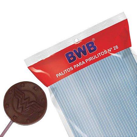 Canudo Palito para Pirulito Grande Azul nº28 Ref. 281 BWB 50unid