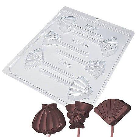 Forma para Chocolate Pirulito Guarda-Chuva 15g Forma Simples Ref. 1396 BWB 5unids
