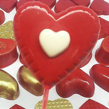 Forma para Chocolate Pirulito Coração 20g Forma Simples Ref. 263 BWB 5unids