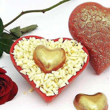 Forma para Chocolate com Silicone Coração Textura Coração 200g Ref. 9395 BWB 1unid