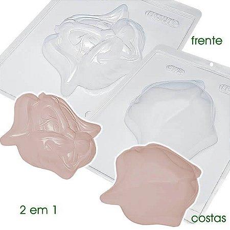 Forma para Chocolate com Silicone Coelho Alegre Frente e Costa 88g Ref. 830 / 831 BWB 1unid
