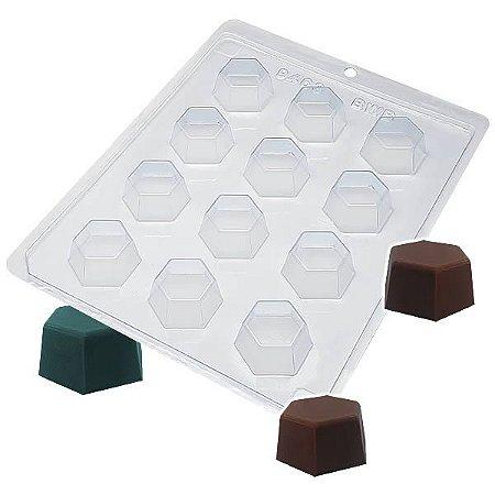Forma para Chocolate Bombom Sextavado Médio 17g Forma Simples Ref. 9463 BWB 5unids