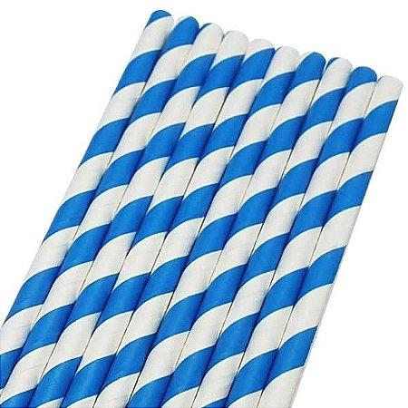 Canudo de Papel Listrado Azul Ref.9965 BWB 20unids