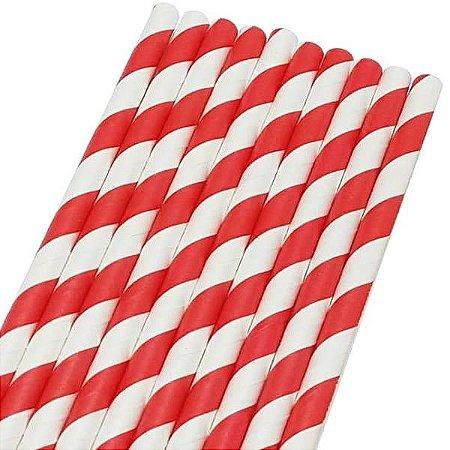 Canudo de Papel Listrado Vermelho Ref.9968 BWB 20unids